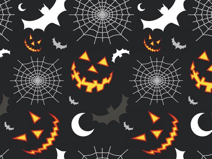 Halloween Smile Cotton Poplin, Black