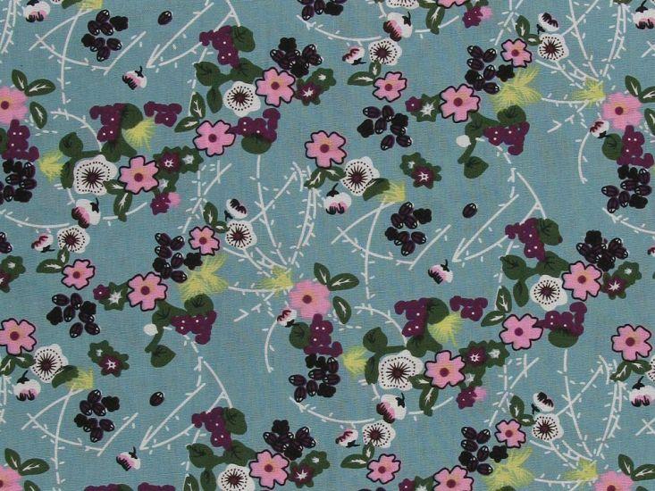 Magome Blossom Cotton Print, Turquoise