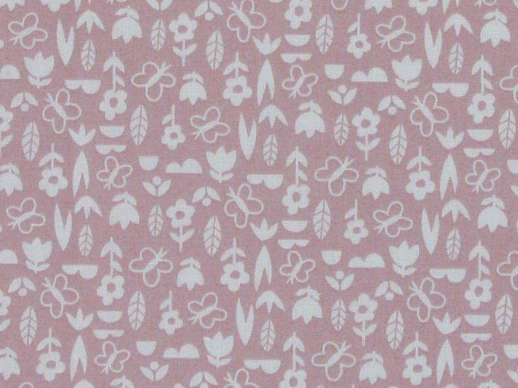 Mini Floral Garden Polycotton Print, Pink