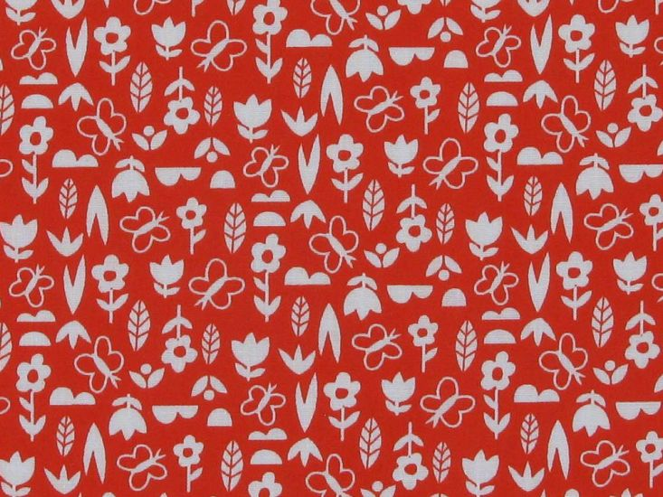Mini Floral Garden Polycotton Print, Red