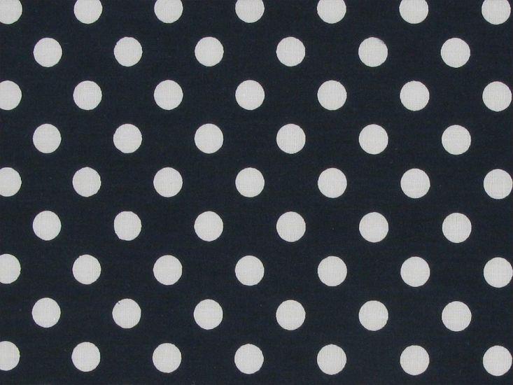1cm Spot Polycotton Print, Navy