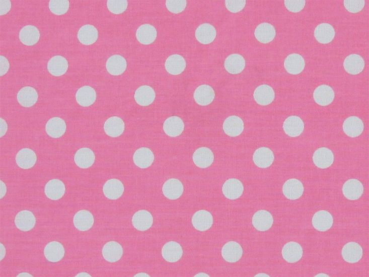 1cm Spot Polycotton Print, Pink