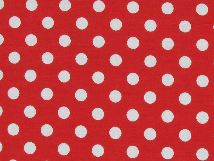 1cm Spot Polycotton Print, Red