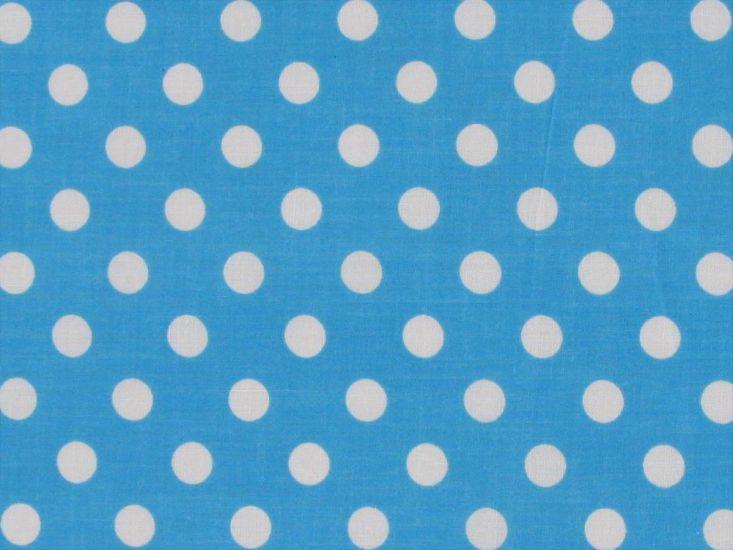 1cm Spot Polycotton Print, Turquoise