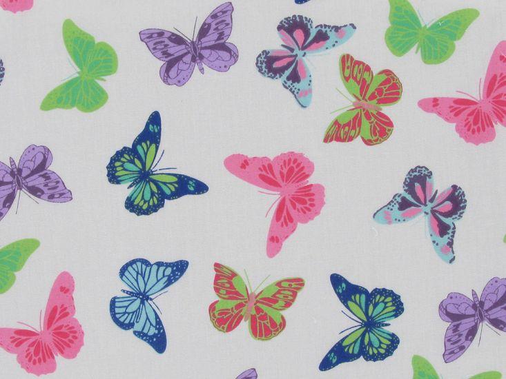 Butterfly Flight Polycotton Print, Multi Pink