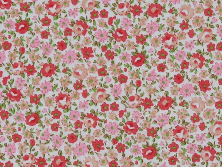 Kitty Floral Polycotton Print, Red