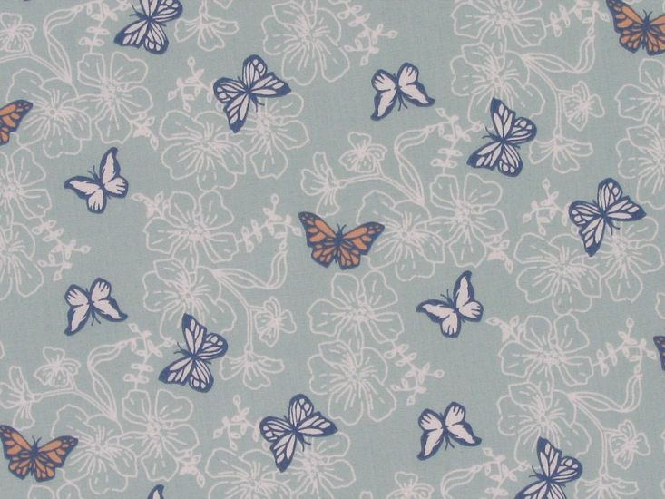 Hibiscus Polycotton Butterfly, Powder Blue