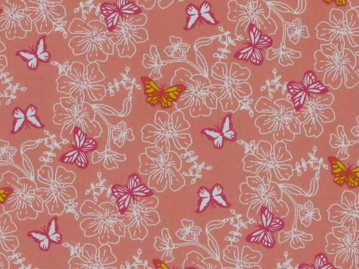 Hibiscus Polycotton Butterfly, Salmon