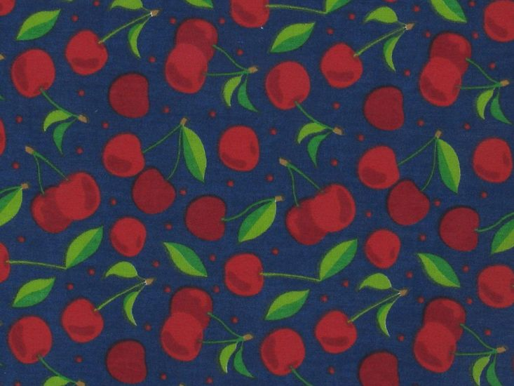 Cherry Spot Polycotton Print, Navy