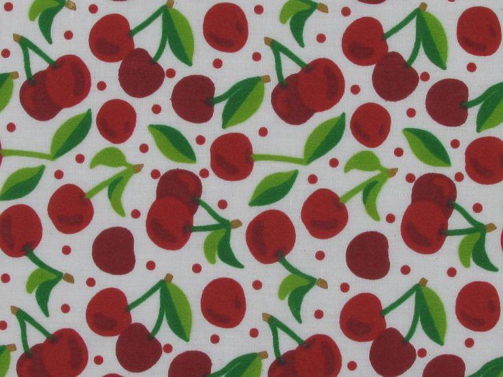 Cherry Spot Polycotton Print, White