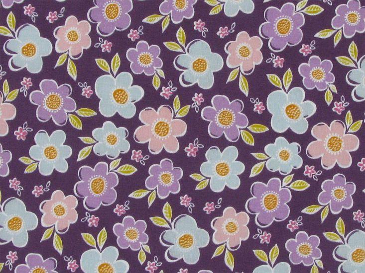 Daisy Meadow Polycotton Print, Purple