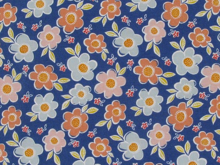 Daisy Meadow Polycotton Print, Royal