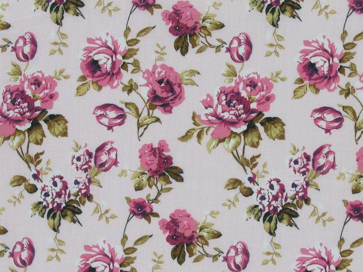 Hatfield Rose Polycotton Print, Pink