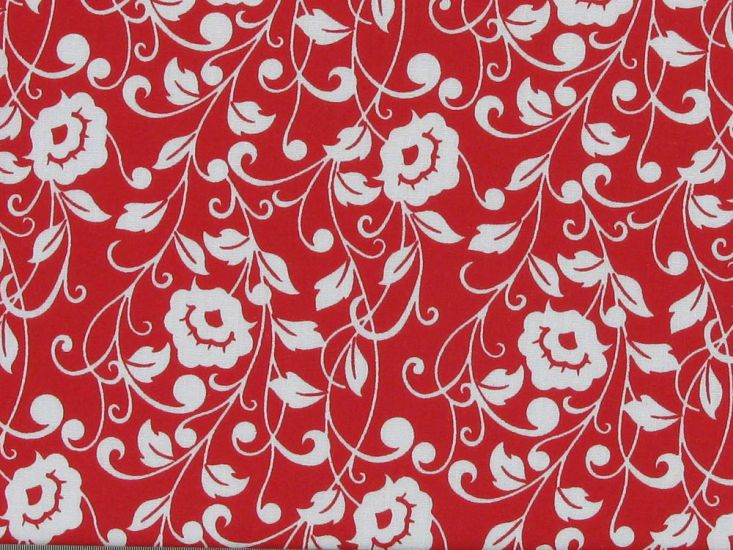 Poppy Flower Polycotton Print, Red