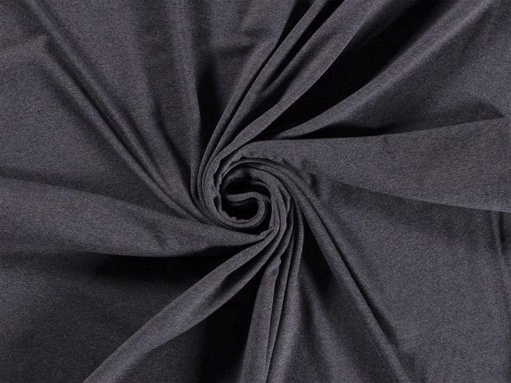 Recycled Cotton Blend Jersey, Dark Grey Melange