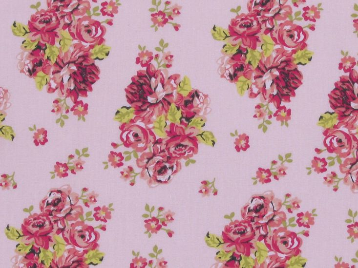Rose Cluster Polycotton Print, Baby Pink