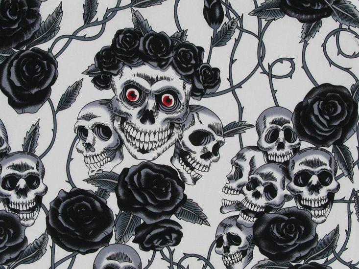 Rose Crown Skull Cotton Poplin, Black And White