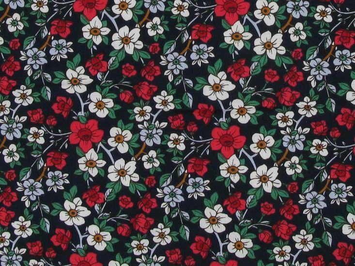 Valley Walk Flora Cotton Poplin Print, Navy