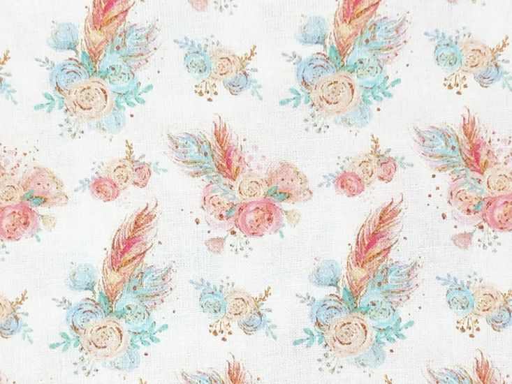 Animal Chic Cotton Print, Campout, Feather Flowers