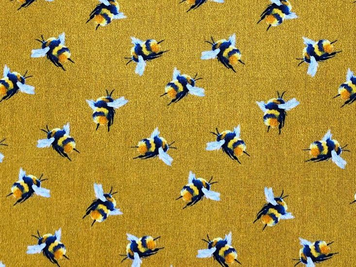 Craft Collection Cotton Print, Bumble Bee, Mustard