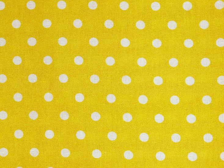 Craft Collection Cotton Print, Pea Spot, Yellow
