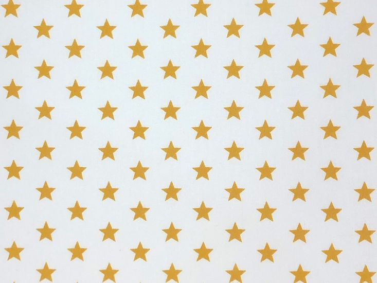 Craft Collection Cotton Print, Small Coloured Star, Mustard
