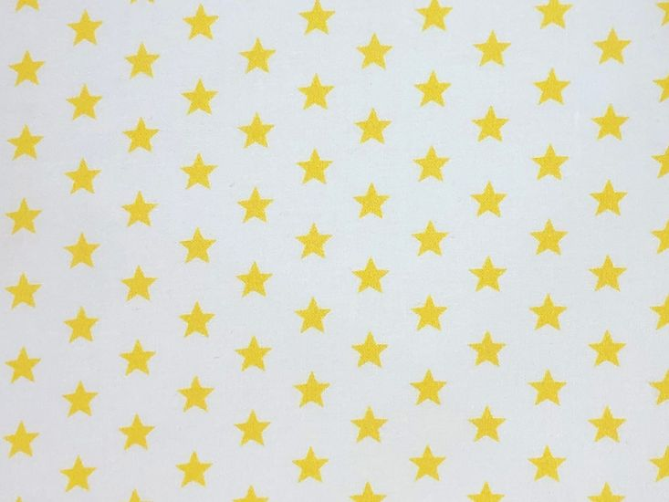 Craft Collection Cotton Print, Small Coloured Star, Yellow