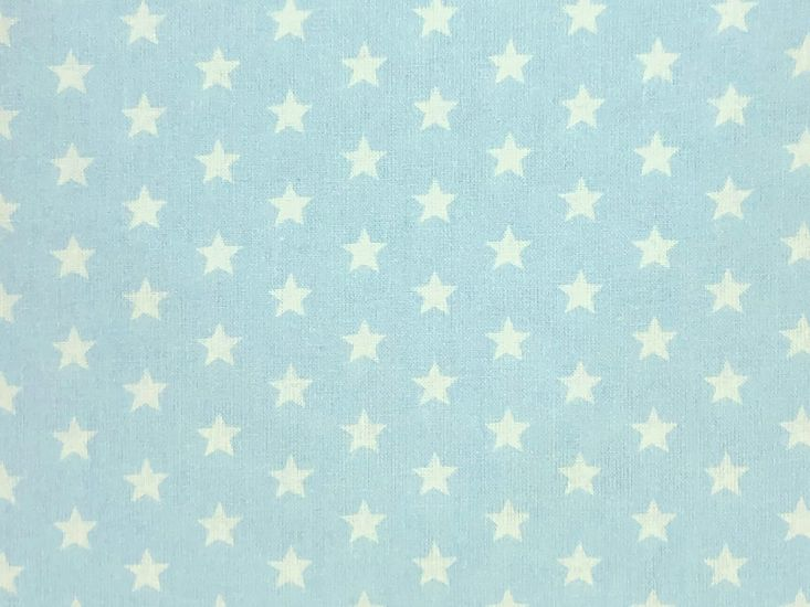 Craft Collection Cotton Print, Small White Star, Light Blue