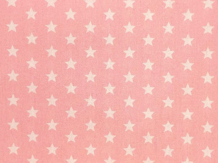 Craft Collection Cotton Print, Small White Star, Candy Pink