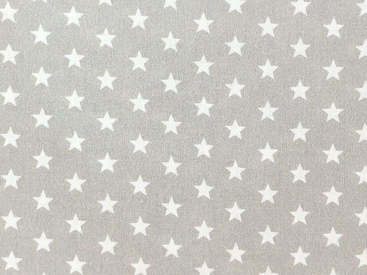 Craft Collection Cotton Print, Small White Star, Silver