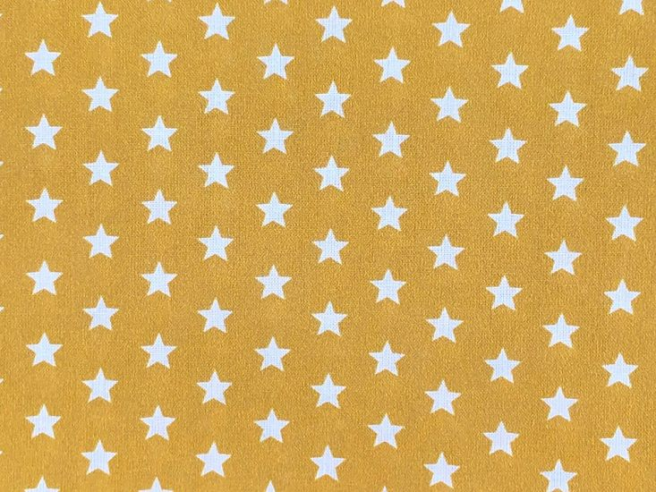 Craft Collection Cotton Print, Small White Star, Mustard