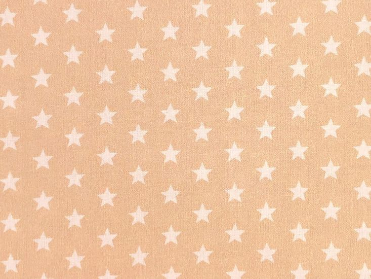 Craft Collection Cotton Print, Small White Star, Beige