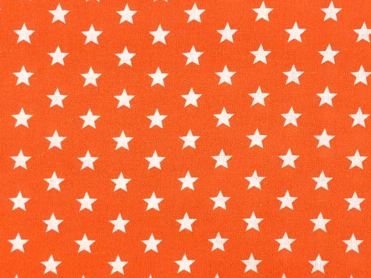 Craft Collection Cotton Print, Small White Star, Orange
