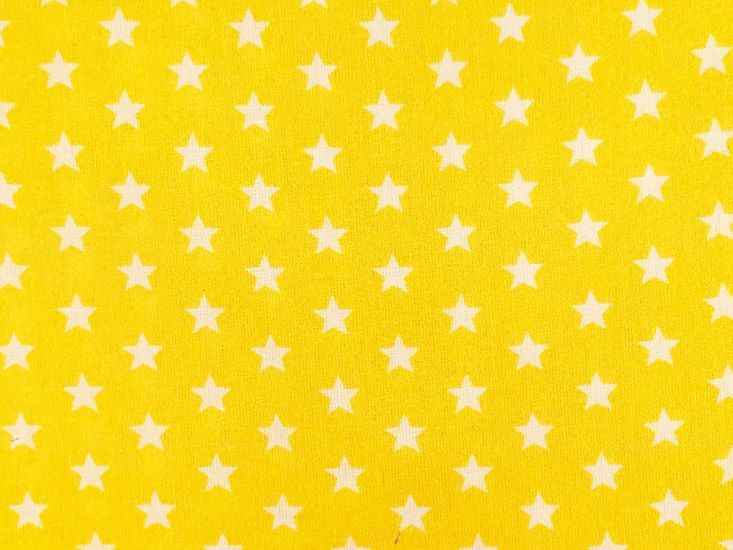 Craft Collection Cotton Print, Small White Star, Yellow