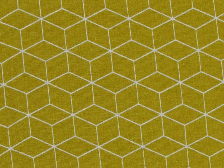 Geometric Cube Cotton Print, Mustard