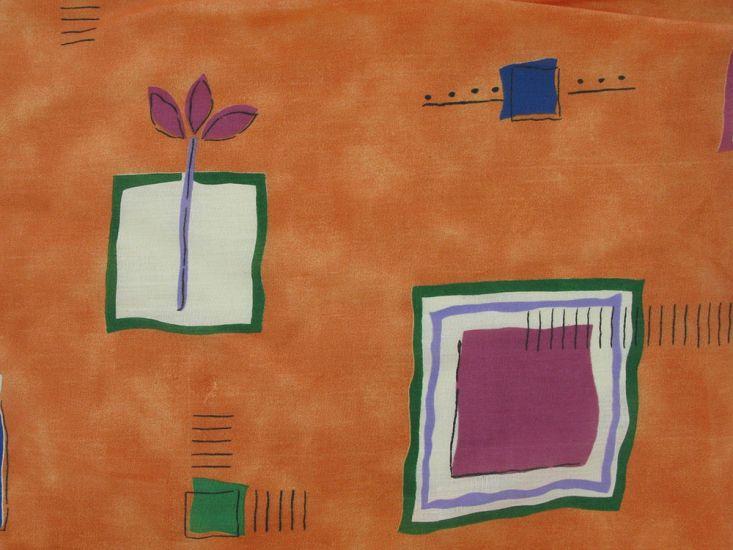 Wide Width Polycotton Sheeting Flower Block, Orange