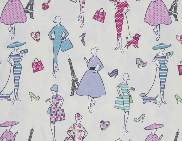 Cotton Print Paris Fashion - Cream, Pink and Blue