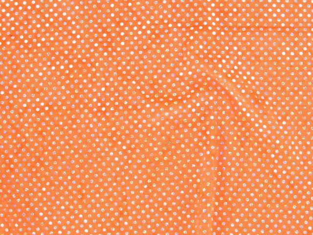 Hologram Sequin Velour, Wide - Orange