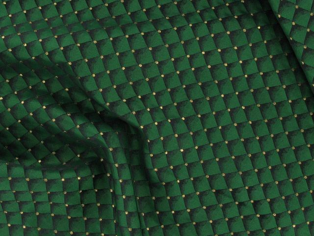Brocade Squares - Green with Gold