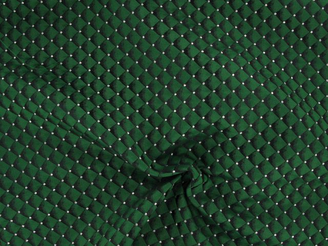 Brocade Squares - Green with Silver