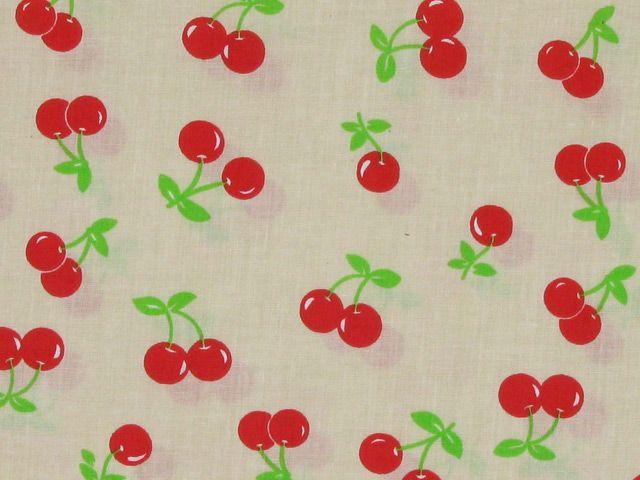 Cherry Polycotton Print - Cream