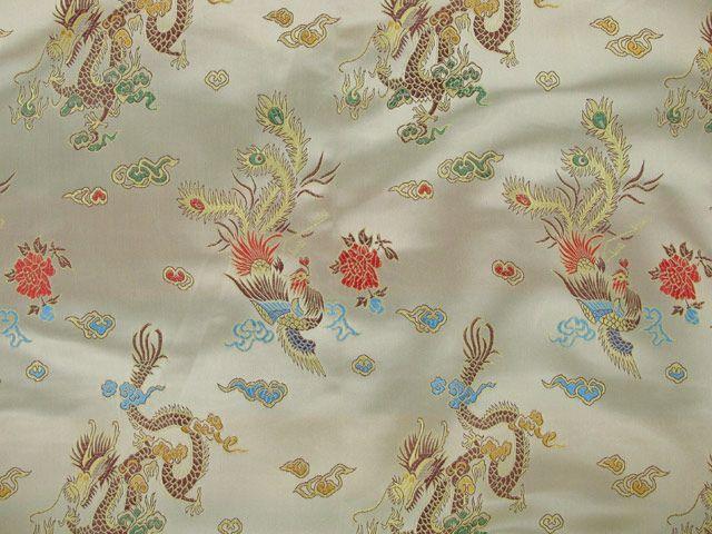 Polyester Jacquard, Chinese Dragon - Gold