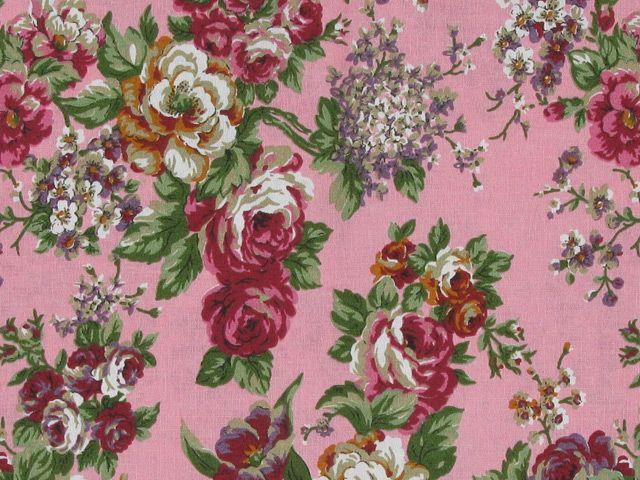English Rose Cotton Print - Pink