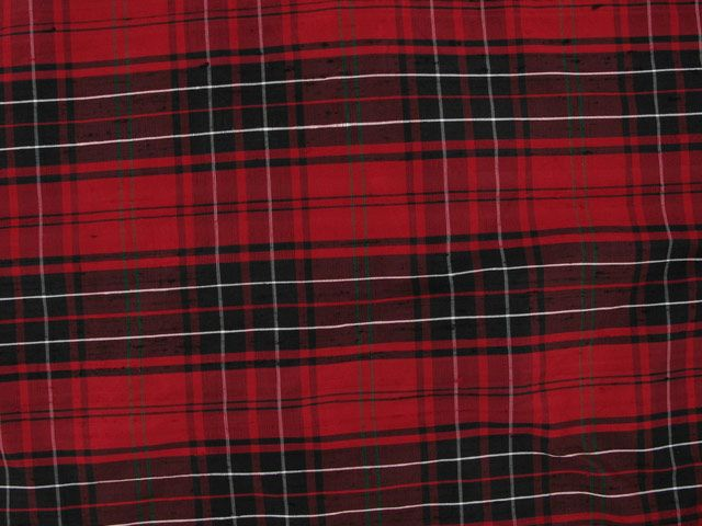 Silk Dupion Plaids Tartan - Red and Black