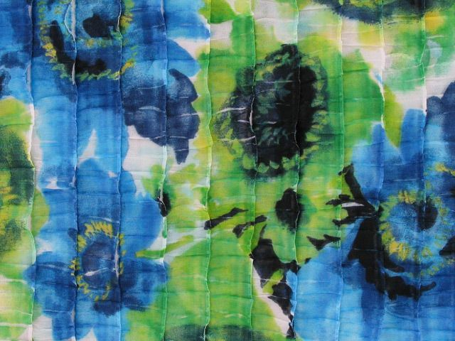 Ruffled Viscose Jersey - Blue and Green