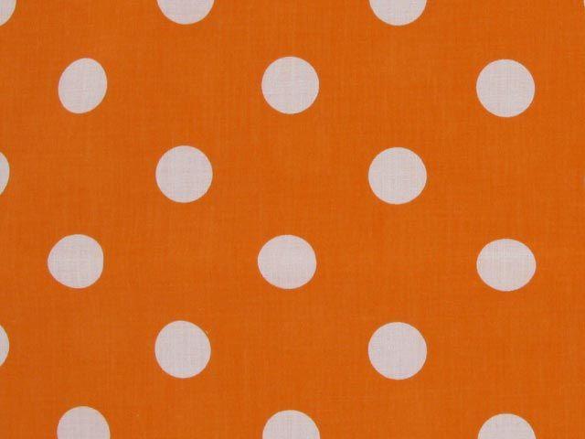 Large White Polka Dot on Orange Background Polycotton Print