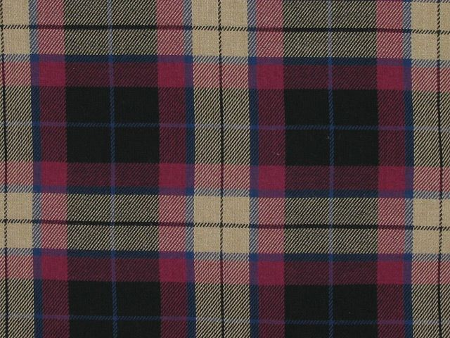 Tartan Poly Viscose - Beige and Pink