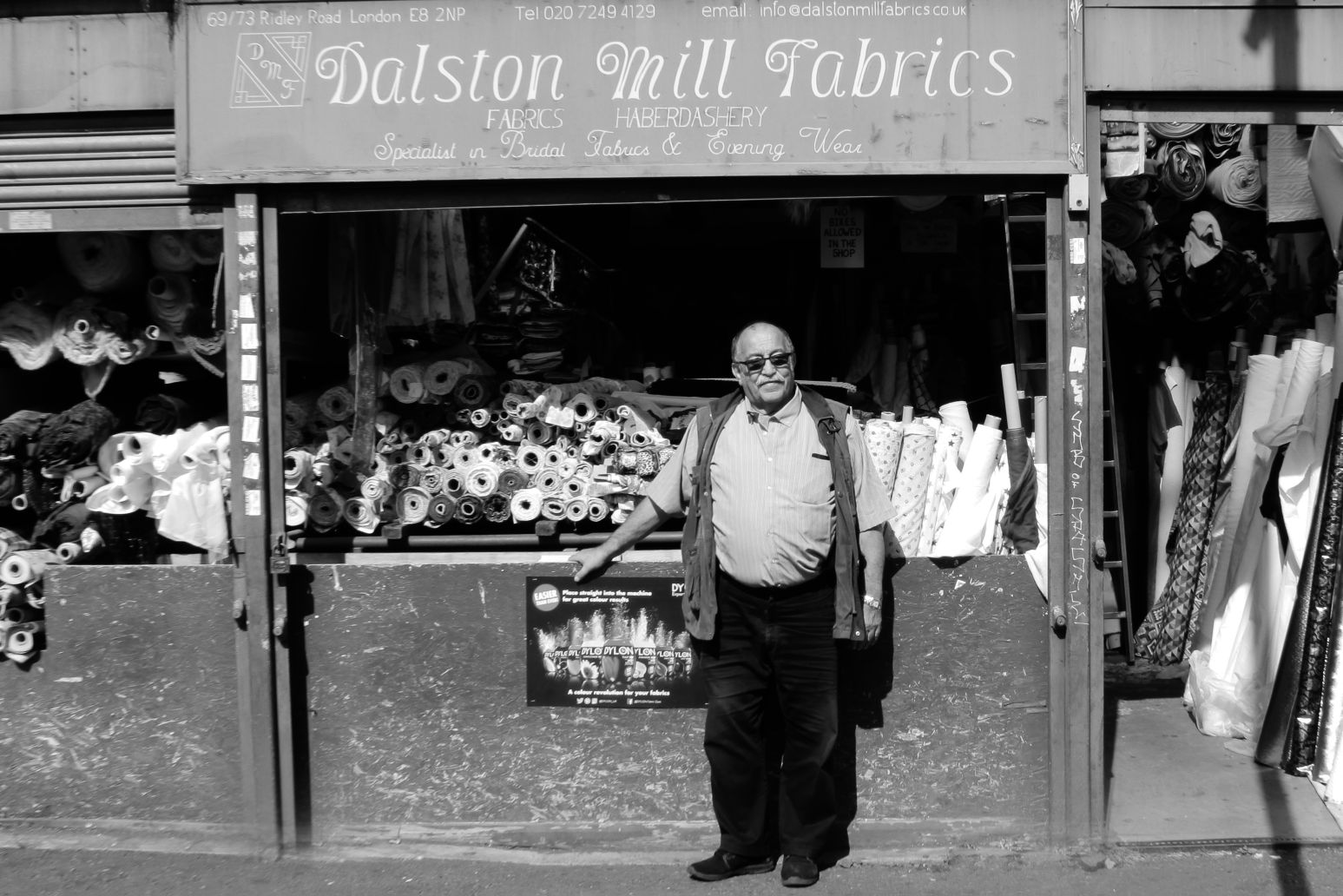 Dalston Mill Fabrics Shop front with Edward